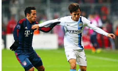 David Silva playing for Manchester City against Beyern Munich