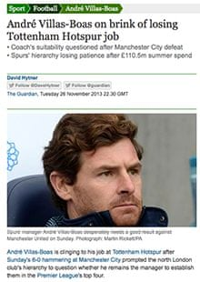 How the Guardian reported Andre Villas-Boas being on the brink at White Hart Lane last month