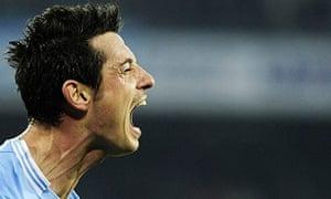 Napoli's Blerim Dzemaili celebrates after scoring
