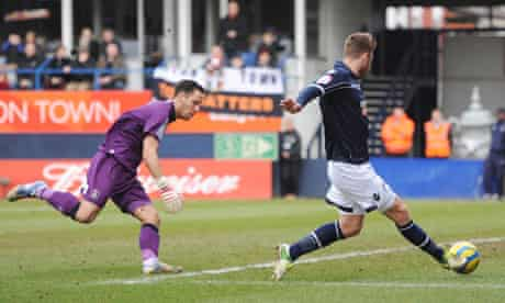 Millwall's James Henry scores his side's first in their 3-0 FA Cup win at Luton Town