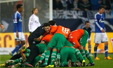 Greuther Fürth players celebrate their winner at Schalke