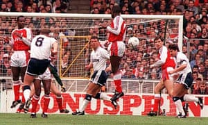 Tottenham's Paul Gascoigne scores his free-kick against Arsenal in the 1991 FA Cup semi-final