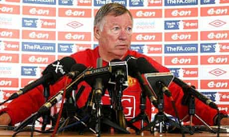 Sir Alex Ferguson at a Manchester United press conference