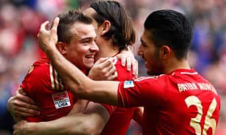 Bayern Munich's Xherdan Shaqiri, Daniel van Buyten and Emre Can celebrate at the weekend