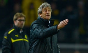 Málaga's head coach Manuel Pellegrini at Borussia Dortmund