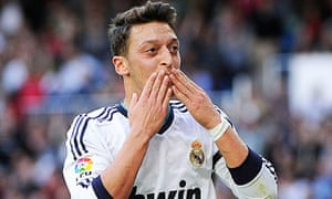Real Madrid's Mesut Ozil celebrates after scoring against Real Betis in his side's 3-1 La Liga win