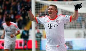 Bastian Schweinsteiger celebrates after scoring