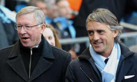Roberto Mancini and Sir Alex Ferguson before Manchester City's win against United in April 2012