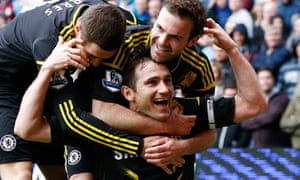 Frank Lampard celebrates his record goal