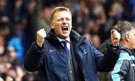 Everton's departing manager, David Moyes, celebrates his team's second goal against West Ham United