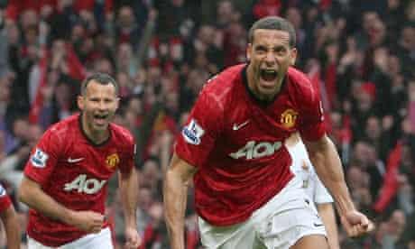Manchester United's Rio Ferdinand celebrates the winner against Swansea City