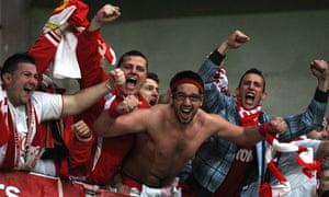 Monaco's supporters celebrate.