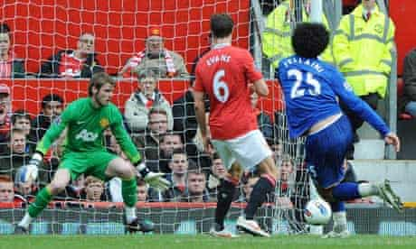 Marouane Fellaini scores Everton's second goal in the 4-4 draw at Manchester United in April 2012
