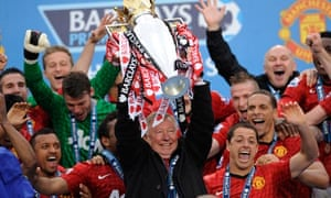 Sir Alex Ferguson celebrates
