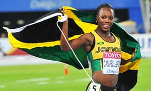 Jamaica's Veronica Campbell-Brown celebrates winning the 2011 200m world title