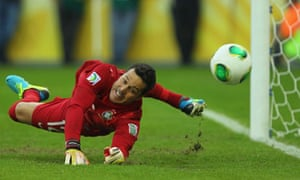 Julio Cesar saves a penalty in the Confederations Cup semi-final