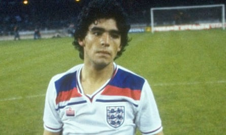 Diego Maradona in an England shirt. As near as he would come
