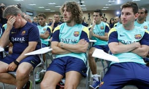 Barcelona's second coach Jordi Roura, Carles Puyol and Lionel Messi