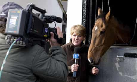 Clare Balding presenting Channel 4 Racing during its first broadcast produced by IMG