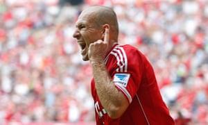 Bayern Munich's Arjen Robben celebrates his side's second goal against Nürnberg in the Bundesliga