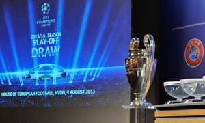 The Champions League trophy and draw balls in Nyon