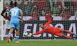 Pepe Reina saves Mario Balotelli's penalty