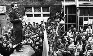 Lech Walesa speaks to workers during a 1980 strike at the Gdansk shipyard