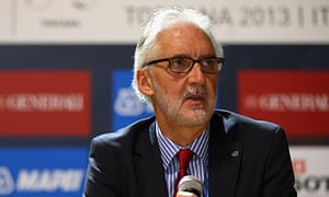 Brian Cookson, the newly elected UCI president, talks to the media in Florence