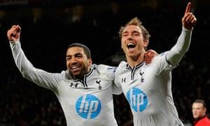 Christian Eriksen and Aaron Lennon celebrate Spurs' winner