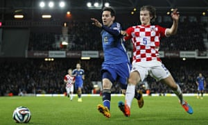 Lionel Messi in action for Argentina against Croatia at Upton Park