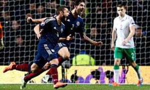 Scotland's Shaun Maloney celebrates his goal