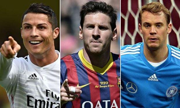Cristiano Ronaldo, Lionel Messi and Manuel Neuer on Ballon ...