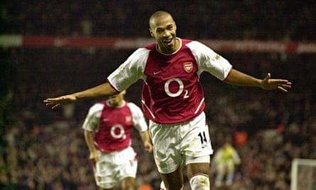 Thierry Henry celebrates scoring against Aston Villa in 2002