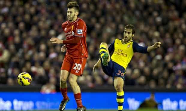 Mathieu Flamini Arsenal Adam Lallana Liverpool