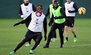 Mario Balotelli trains for Liverpool