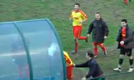 Footballer heads dug-out