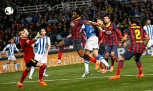 Alex Song scores an own goal