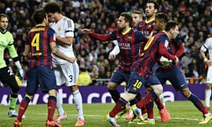 Lionel Messi heads back to the centre circle after scoring to make it Real Madrid 2-2 Barcelona