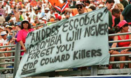 Fans pay tribute to Andrés Escobar at the Holland v Ireland game at USA '94.