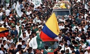 The funeral of Andrés Escobar in Medellín.