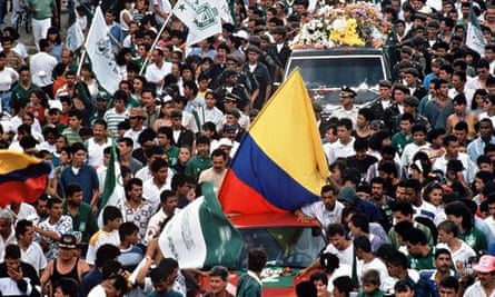 The funeral of Andrés Escobar in Medellín.