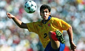 Andrés Escobar in action for Colombia v USA