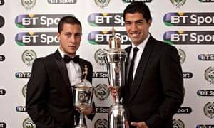Liverpool's Luis Suarez, right, with the player of the year award and Eden Hazard