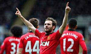 Manchester United's Juan Mata celebrates scored two goals in the Premier League against Newcastle