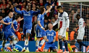 Chelsea celebrate victory over PSG at the final whistle