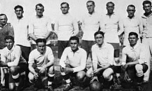 The Uruguay team for the 1930 World Cup final. Standing, from left: Figoli (masseur), Álvaro Gestido, José Nazazzi, Enrique Ballesteros, Ernesto Mascheroni, José Leandro Andrade, Lorenzo Fernández, Greco (masseur); Front row, from left: Pablo Dorado, Héctor Scarone, Héctor Castro, Pedro Cea, Santos Iriarte.