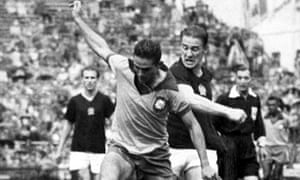 Action from the 1954 quarter-final between Hungary and Brazil