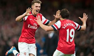 Arsenal's Aaron Ramsey celebrates after scoring in the win over Liverpool.