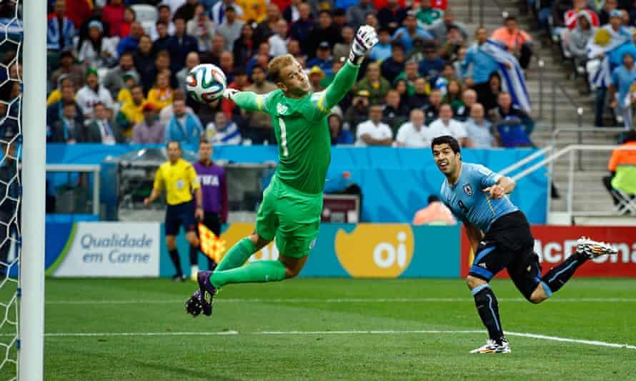 Luis Suárez scores against England