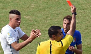 Claudio Marchisio of Italy gets the red card